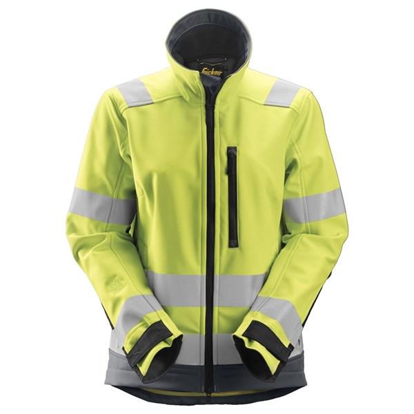 Snickers High Vis Softshell jakke med refleks, gul