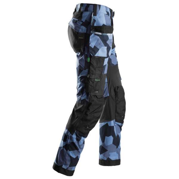 Arbeidsbukse Camo marineblå - med hylsterlommer 6902 - fra Snickers workwear flexiwork serie