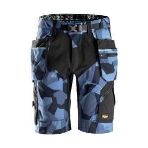 Marineblå Camo shorts med hylsterlommer 6904 -fra Snickers workwear Flexiwork serie