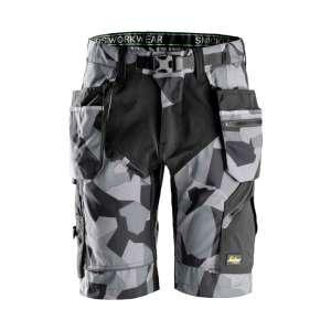 Grå Camo shorts med hylsterlommer 6904 -fra Snickers workwear flexiwork serie