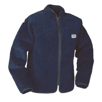 Marineblå vendbar fiberpelsjakke