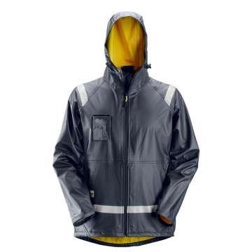 PU-belagt regnjakke med sveisede sømmer så får du en 100% tørr arbeidsdag. Laget av et glatt og elastisk stoff for mak