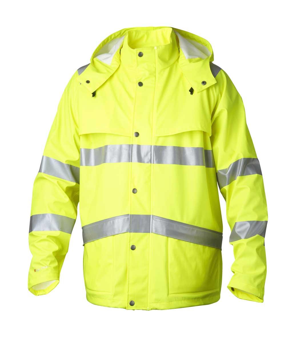 d757af2c Lang gul regnjakke med hette ~ Ezzenza.no Arbeidsklær