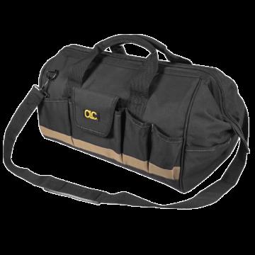 Verktøybagen har polstrede håndtak og en justerbar skulderrem som gjør den behagelig å bære.