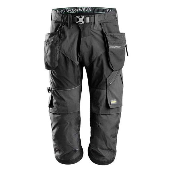 FlexiWork Snickers Workwear Svart Piratbukse med hylsterlommer sett bakfra