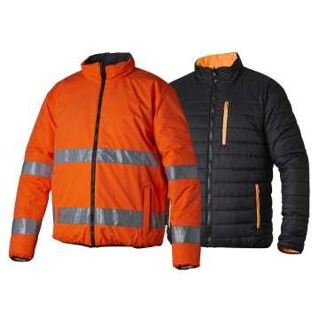 Vendbar jakke i oransje
