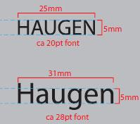 Eksempel minimumshøyde på tekst til brodering