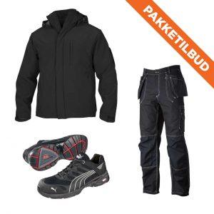 Vernesko, softshell jakke og håndverksbukse