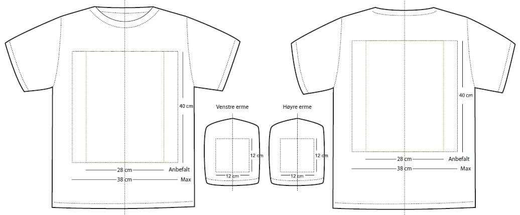 Plassering av trykk på en t-skjorte