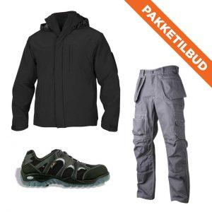 Softshell jakke, håndverksbukse og vernesko
